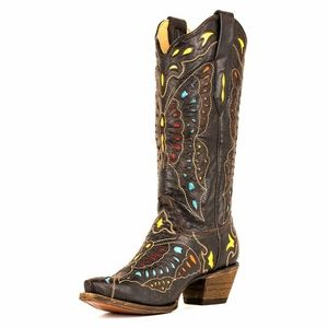 Corral Vintage Leather Butterfly Western Boots 9